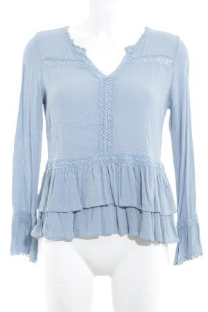 Cream Schlupf-Bluse blassblau Romantik-Look
