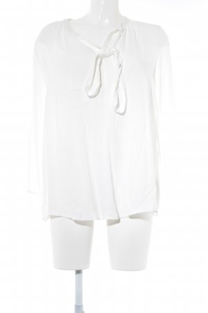 Cream Slip-over blouse wit Webpatroon casual uitstraling