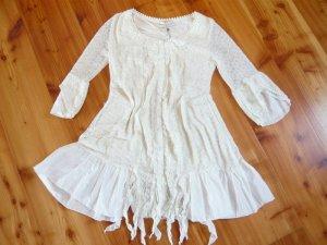 CREAM schönes Tunika Kleid mit Stickerei und Spitze, Gr. M, ecru, NEU !