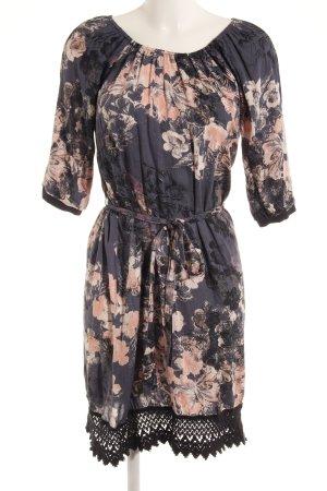 Cream Off the shoulder jurk korenblauw-lichtroze bloemenprint casual uitstraling