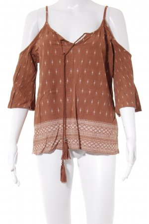 Cream Off the shoulder top cognac-wit Azteken patroon country stijl