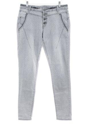Cream Slim Jeans grau-hellgrau Ornamentenmuster Casual-Look