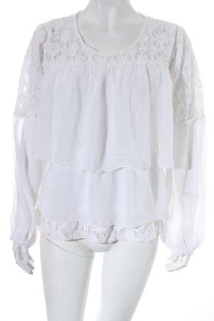 Cream Spitzenbluse wollweiß Romantik-Look