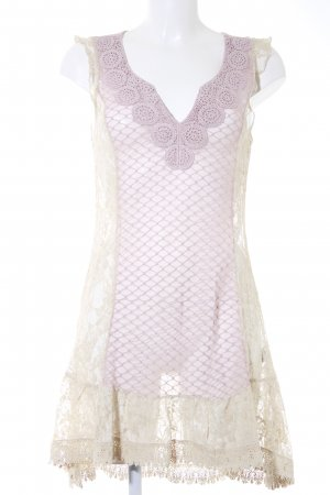 Cream Spitzenkleid creme-blasslila Romantik-Look