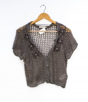 Cream Short Sleeve Knitted Jacket grey brown