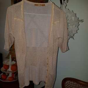 Cream Strickjacke metallic Gold mit Spitze & Perlen Gr.S