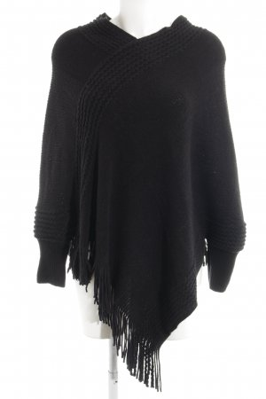 Cream Gebreide poncho zwart casual uitstraling
