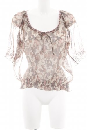 Cream Transparenz-Bluse abstraktes Muster Casual-Look
