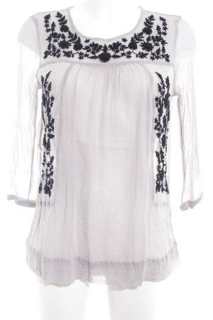 Cream Transparenz-Bluse hellgrau-schwarz Blumenmuster Romantik-Look