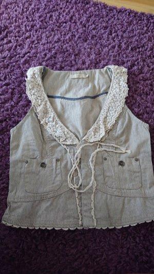 Cream Fringed Vest white