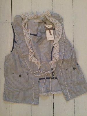 Cream Fringed Vest white-slate-gray