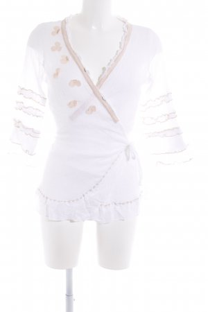 Cream Wraparound Blouse white-nude casual look