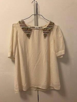 Creme Farbene Bluse mit Verziertem Kragen