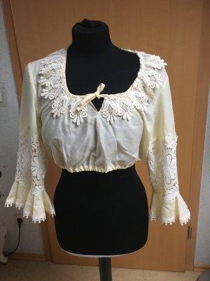 Creme farbene Vintage Bluse mit spitze
