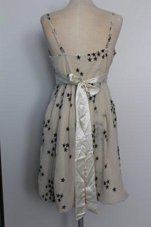 creme Kleid Trägerkleid schwarz Sterne Mini New Look emo lolita kawaii M L EU 40 D 38 UK 12