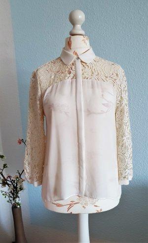 creme-weiße Bluse mit Spitze von Zara