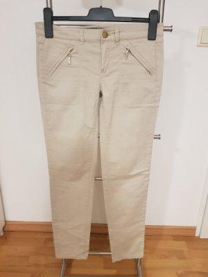 Creme-weiße feine Slim-fit Hose von Massimo Dutti