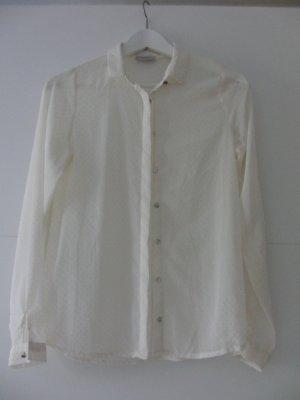 Creme-weiße leicht transparente Bluse