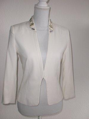 creme-weißer Blazer mit Schmucksteinen Gr. 36 / H&M