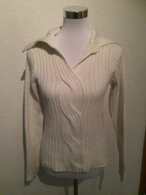 creme / weißer Pullover in Strickoptik / Zopfpullover von YOU - Gr. 38