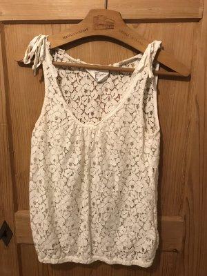 H&M Top di merletto bianco-bianco sporco