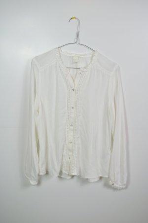Cremefarbene Bluse langarm mit Cut Outs / Ausstanzungen