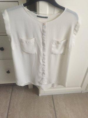 Cremefarbene Bluse mit Brusttaschen