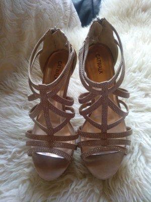 Cremefarbene Glitzer Riemchen High Heels