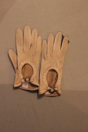 Cremefarbene Lederhandschuhe