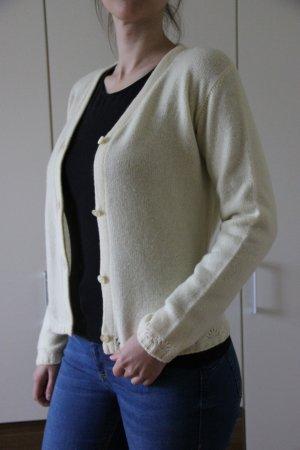 Chaleco de punto amarillo pálido-crema Cachemir