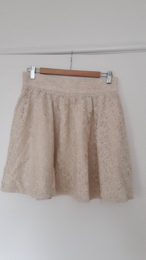 H&M Divided Falda de talle alto crema tejido mezclado