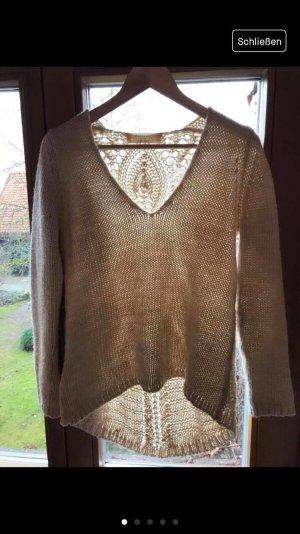 Zara Knit Maglione di lana crema Cotone