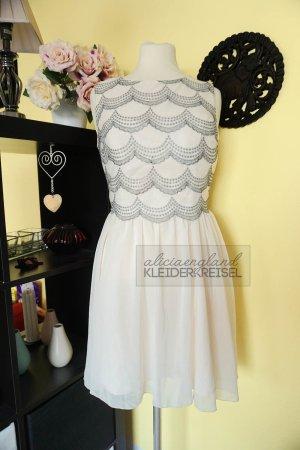 Cremefarbenes Chi Chi London Kleid mit Bogenkante
