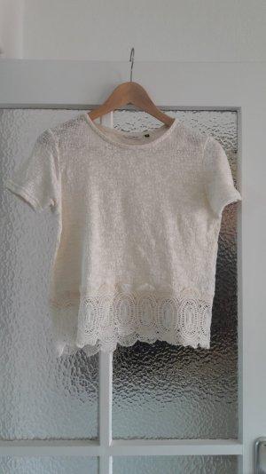 Cremefarbenes Cropped-T-Shirt mit Spitzensaum