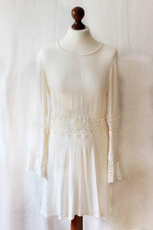 Cremefarbenes Hippie Kleid mit Spitze und Rückenausschnitt H&M 38 S Blogger