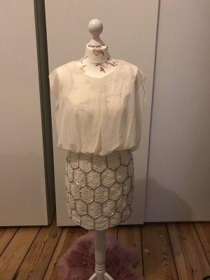 Cremefarbenes Kleid mit Pailletten Rock