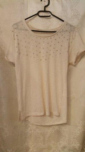 Cremefarbenes Shirt mit Nieten Gr. 38/40