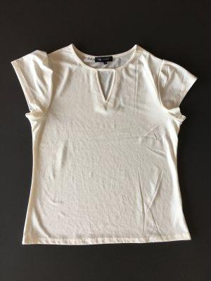 Cremefarbenes Shirt mit V-Ausschnitt