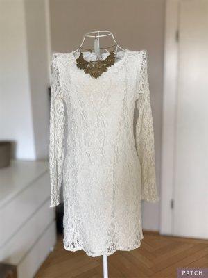 Cremefarbenes Spitzenkleid, Kleid Gr. 36