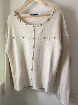 Cremefarbenes Sweatshirt mit Nieten Used Look Gr. M