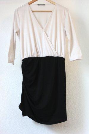 Cremeweiß schwarzes Kleid in Wickeloptik von Mango Größe M = 38