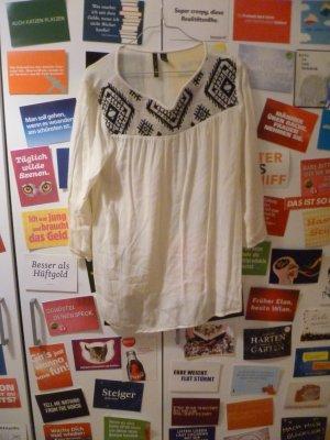 Cremeweiße Bluse von Mango, Boho, Aztek, Ethno, Hippie, Sommer, Oversize, Strand