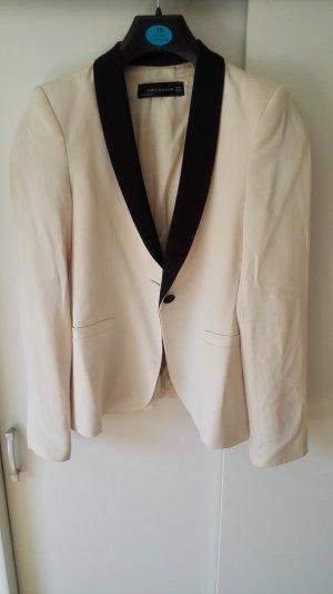 Cremeweißer Zara Blazer mit schwarzem Revers Größe 34 XS