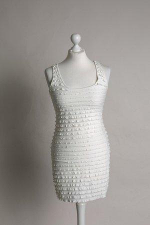 H&M Volante jurk wit-licht beige
