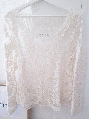 Cremfarbenes Obterteil Lochstickerei Spitze lace transparent Blogger Musthave Trend Chiffon