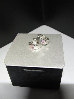 Creolen aus 925er Silber mit einem rosa Stein