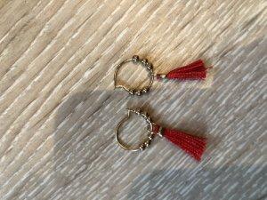 Six Pendant d'oreille doré-rouge