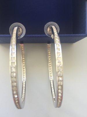 Creolen Groß 6 cm Durchmesser mit Swarowski Kristallen Aussen + Innen