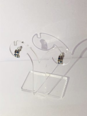 Ear Hoops silver-colored-blue