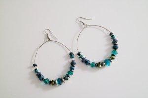 Creolen-Ohrringe mit Perlen | blau/türkis